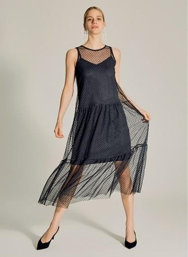 NGSTYLE Puantiye Tüllü Elbise Siyah
